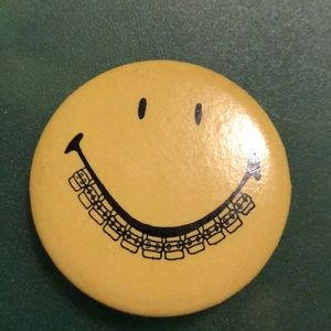 "Smiley Face With Braces 😬 1 3/4"" Pin-back Button"